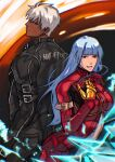 1boy 1girl belt blue_hair bodysuit breasts eyebrows_visible_through_hair gloves highres jacket k' kula_diamond leather leather_jacket long_hair looking_at_viewer medium_breasts simple_background smile syachiiro tan the_king_of_fighters violet_eyes white_hair