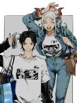 >:) 1boy 1girl ^_^ ahoge alternate_costume arm_at_side arm_up bag black_hair buttons casual character_print closed_eyes closed_mouth collarbone commentary_request contemporary curled_horns denim denim_jacket facing_viewer fingernails green_hair grey_hair height_difference high-waist_pants highres horn_ornament horns jacket jeans keychain kouzuki_oden layered_sleeves long_hair long_sleeves looking_at_viewer makenevemoiine monkey_d._luffy multicolored_hair multicolored_horns object_on_head one_piece open_clothes open_jacket open_mouth pants portgas_d._ace red_horns shirt short_hair short_over_long_sleeves short_sleeves shoulder_bag sleeves_past_wrists smile sweatshirt two-tone_hair v-shaped_eyebrows white_hair yamato_(one_piece) yellow_horns
