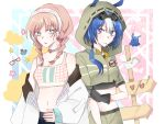 2girls alternate_costume animal_ears arknights bare_shoulders blue_eyes blue_hair blue_poison_(arknights) blue_poison_(shoal_beat)_(arknights) braid candy choker crop_top food food_in_mouth glaucus_(arknights) glaucus_(exterminator_in_the_square)_(arknights) gloves hairband hood hood_up jacket liangxi lollipop midriff multicolored_hair multiple_girls navel official_alternate_costume open_clothes open_jacket pink_hair short_sleeves streaked_hair symbol_commentary twin_braids white_jacket