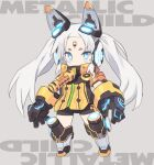 1girl black_gloves black_leotard blade_(galaxist) blue_eyes blush character_request chibi facial_mark forehead_mark full_body gloves glowing grey_background grey_footwear headgear kneebar leotard long_hair looking_at_viewer mecha_musume metallic_child short_eyebrows simple_background solo standing thick_eyebrows twintails very_long_hair white_hair