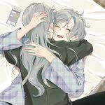 2girls absurdres bang_dream! bed commentary_request happy highres hikawa_hina hikawa_sayo hug incest korean_commentary laughing long_hair messy_hair multiple_girls pajamas short_hair siblings sisters twincest twins yuri zihacheol