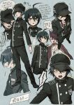2boys ahoge aoki_(fumomo) bangs black_footwear black_hair black_jacket black_pants brown_eyes buttons cabbie_hat clenched_hand closed_mouth commentary_request cropped_torso crying crying_with_eyes_open danganronpa_(series) danganronpa_v3:_killing_harmony double-breasted full_body gakuran grey_background hair_between_eyes hand_on_own_chin hand_up hat jacket jacket_on_shoulders long_sleeves looking_at_viewer male_focus momota_kaito multiple_boys multiple_views open_mouth pants print_shirt saihara_shuuichi school_uniform shirt short_hair simple_background smile striped striped_jacket striped_pants tears thinking translation_request white_shirt