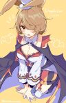 1girl althemia animal_ears bangs blonde_hair breasts cape dragalia_lost eyebrows_visible_through_hair hair_over_one_eye halloween_costume hat kneeling looking_at_viewer medium_breasts mini_hat mini_top_hat mishima_kurone official_alternate_costume open_mouth rabbit_ears short_hair skull_collar solo top_hat violet_eyes yellow_background