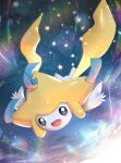 :d absurdres blue_eyes flying gen_3_pokemon gonzarez highres jirachi looking_at_viewer mythical_pokemon open_mouth pokemon smile sparkle star_(symbol)