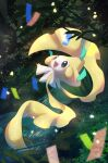 :d absurdres blush commentary_request gen_3_pokemon highres jirachi leaf looking_up mythical_pokemon night no_humans nullma open_mouth outdoors outstretched_arms pokemon pokemon_(creature) shiny smile solo stream tongue water