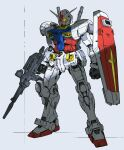 1other absurdres beam_rifle clenched_hand energy_gun full_body glowing glowing_eyes gun gundam highres holding holding_gun holding_shield holding_weapon jnt joints mecha mobile_suit mobile_suit_gundam no_humans robot_joints rx-78-2 scope shield solo standing weapon white_background yellow_eyes