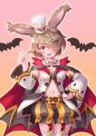 1girl althemia animal_ears bangs bat belt blonde_hair breasts cocoasabure dragalia_lost eyebrows_visible_through_hair garter_straps halloween_costume hat highres looking_at_viewer medium_breasts mini_hat mini_top_hat navel official_alternate_costume open_mouth rabbit_ears red_eyes short_hair solo top_hat