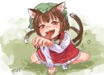 1girl :d absurdres animal_ears bangs blush bow bowtie brown_eyes brown_hair cat_ears cat_tail chen dress earrings eyebrows_visible_through_hair fangs fingernails foreshortening from_above gold_trim green_headwear hand_up hat highres jewelry licking_hand long_fingernails long_sleeves looking_at_viewer misohagi mob_cap multiple_tails nekomata one-hour_drawing_challenge open_mouth paw_print red_dress sharp_fingernails simple_background single_earring smile solo spread_legs squatting tail tongue tongue_out touhou two_tails white_bow white_neckwear
