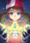 1girl bangs blue_eyes blush brown_hair closed_mouth collared_shirt commentary_request eyelashes gen_3_pokemon gloves hands_up highres jirachi may_(pokemon) mythical_pokemon night outdoors peron_(niki2ki884) pokemon pokemon_(creature) pokemon_(game) pokemon_rse popped_collar red_bandana red_shirt shirt short_sleeves sky smile star_(sky) twitter_username upper_body watermark