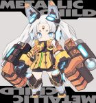 1girl black_gloves black_leotard blade_(galaxist) blue_eyes blush character_request chibi commentary_request facial_mark forehead_mark full_body gloves glowing grey_footwear headgear kneebar leotard long_hair looking_at_viewer mecha_musume metallic_child short_eyebrows solo standing thick_eyebrows twintails very_long_hair white_hair