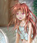 1girl aqua_tank_top blush electric_fan eternal_melody fang fangs jun_(kiba_feti) long_hair messy_hair midriff navel open_mouth redhead shade sitting summer sweat tank_top tina_harvel violet_eyes