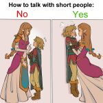 1boy 1girl absurdres armor bessiebee3 black_eyes blonde_hair braid breasts brown_hair dress english_commentary english_text hair_behind_ear highres holding_person how_to_talk_to_short_people link long_hair medium_breasts meme parody pink_dress pointy_ears princess_zelda surprised the_legend_of_zelda the_legend_of_zelda:_breath_of_the_wild the_legend_of_zelda:_twilight_princess tied_hair wide-eyed