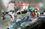 1girl 3d absurdres arm_cannon armor body_armor commentary e.m.m.i._(metroid) full_body glowing glowing_eye helmet highres joints metroid metroid_dread neon_trim official_art power_armor robot robot_joints samus_aran science_fiction shoulder_armor simple_background sliding visor_cap weapon