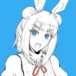 1girl bangs blue_background blue_eyes bow double_bun dress dress_bow eyebrows_visible_through_hair hair_ribbon haniwa_(statue) joutouguu_mayumi looking_at_viewer open_mouth puffy_short_sleeves puffy_sleeves red_bow ribbon shokabatsuki short_sleeves simple_background solo touhou white_dress white_hair white_ribbon white_sleeves