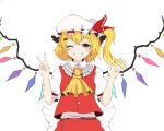 1girl bangs blonde_hair bow buttons collar crystal double_v eyebrows_visible_through_hair flandre_scarlet hair_between_eyes hands_up hat hat_ribbon highres looking_at_viewer multicolored multicolored_wings one_eye_closed one_side_up puffy_short_sleeves puffy_sleeves red_eyes red_ribbon red_skirt red_vest ribbon shirt shokabatsuki short_hair short_sleeves simple_background skirt smile solo teeth touhou v vest white_background white_bow white_collar white_headwear white_shirt white_sleeves wings yellow_neckwear