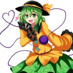 1girl absurdres bangs black_headwear blouse blush bow collar crystal eyebrows_visible_through_hair floral_print flower frills green_collar green_eyes green_flower green_hair green_rose green_skirt hair_between_eyes hand_up hat hat_bow heart heart-shaped_pupils highres komeiji_koishi long_sleeves looking_at_viewer open_mouth rose rose_print shokabatsuki simple_background skirt smile solo standing symbol-shaped_pupils third_eye touhou white_background wide_sleeves yellow_blouse yellow_bow yellow_sleeves