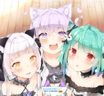 3girls :d absurdres animal_ears blush cat_ears cat_girl commentary_request eyebrows_visible_through_hair gothic_lolita heart highres hololive lolita_fashion looking_at_viewer multiple_girls murasaki_shion nekomata_okayu open_mouth pepushi_drow pov pov_hands smile striped translation_request uruha_rushia vertical_stripes
