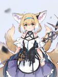 1girl absurdres animal_ears arknights bangs blonde_hair blue_background blue_hairband blush braid closed_mouth dress earpiece eyebrows_visible_through_hair fox_ears fox_girl fox_tail frills fujimaki_nora green_eyes hair_between_eyes hairband highres holding holding_staff infection_monitor_(arknights) kyuubi multicolored_hair multiple_tails short_hair sidelocks simple_background single_wrist_cuff solo staff suzuran_(arknights) tail white_hair wrist_cuffs