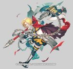 1girl amelia_(fire_emblem) arm_guards armor axe blonde_hair blue_legwear bob_cut cape chain commentary_request copyright_name elbow_gloves eyebrows_visible_through_hair fire_emblem fire_emblem:_the_sacred_stones fire_emblem_heroes gauntlets gloves greaves green_eyes grey_background hip_armor holding holding_axe huge_weapon injury midriff official_alternate_costume official_art one_eye_closed open_mouth pauldrons red_cape sandals short_hair shoulder_armor simple_background solo taroji thigh-highs torn_cape torn_clothes watermark weapon zettai_ryouiki