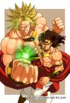 2boys black_eyes black_hair bracer broly_(dragon_ball_z) clenched_hands collar commentary_request dragon_ball dragon_ball_z dual_persona ear_piercing earrings energy green_hair grin highres hoshikawa_akira incoming_attack jewelry legendary_super_saiyan looking_at_viewer male_focus multiple_boys muscular muscular_male no_pupils piercing smile super_saiyan tiara