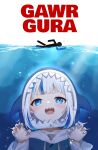 1girl animal_costume blue_eyes blue_hair bubble character_name commentary english_text gawr_gura highres hololive hololive_english jaws_(movie) looking_at_viewer multicolored_hair nail_polish open_mouth parody shadow shark_costume sharp_teeth solo stick_figure swimming teeth two-tone_hair virtual_youtuber wei_yong