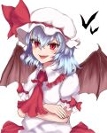 1girl absurdres bangs bat bat_wings blue_hair bow collar crossed_arms dress eyebrows_visible_through_hair eyes_visible_through_hair hair_between_eyes hat hat_ribbon highres looking_at_viewer open_mouth puffy_short_sleeves puffy_sleeves red_bow red_eyes red_neckwear red_ribbon remilia_scarlet ribbon shokabatsuki short_hair short_sleeves simple_background smile solo touhou white_background white_collar white_dress white_headwear white_sleeves wings