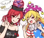 2girls american_flag_shirt bangs bare_shoulders black_choker black_headwear black_neckwear black_shirt black_sleeves blue_shirt blue_sleeves blush breasts choker closed_mouth clothes_writing clownpiece earrings earth_(ornament) eyebrows_visible_through_hair fairy_wings hair_between_eyes hand_up hands_up hat hecatia_lapislazuli highres holding jester_cap jewelry looking_at_viewer medium_breasts medium_hair moon_(ornament) multiple_girls one_eye_closed open_mouth pink_hair pink_headwear polos_crown red_eyes red_headwear red_shirt red_sleeves redhead shirt shokabatsuki short_sleeves simple_background smile star_(symbol) star_print striped striped_shirt t-shirt tongue tongue_out touhou white_background white_shirt white_sleeves wings