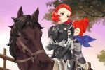 2girls animal armor closed_mouth cute fire_emblem fire_emblem_14 fire_emblem_fates fire_emblem_if hair_bun hairband highres horse horseback_riding human igni_tion intelligent_systems kana_(fire_emblem) kana_(fire_emblem)_(female) mammal manakete mother_and_daughter multiple_girls nintendo redhead riding scarf short_hair shoulder_armor sophie_(fire_emblem) tree