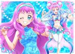 2girls :d blue_dress blue_eyes blue_hair blue_hairband blue_nails breasts choker collarbone cure_la_mer detached_sleeves dress gradient_hair grin hair_intakes hairband hanzou highres holding laura_(precure) layered_skirt long_hair long_sleeves looking_at_viewer medium_breasts midriff miniskirt multicolored_hair multiple_girls nail_polish navel one_eye_closed open_mouth pants pink_hair pink_nails precure shiny shiny_hair skirt sleeveless sleeveless_dress smile standing standing_on_one_leg stomach strapless toenail_polish tropical-rouge!_precure very_long_hair white_pants white_sleeves