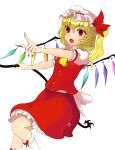 1girl absurdres arms_up bangs blonde_hair bow buttons collar crystal eyebrows_visible_through_hair eyes_visible_through_hair flandre_scarlet hair_between_eyes hands_up hat hat_ribbon highres holding leg_up looking_away multicolored multicolored_wings open_mouth pointing polearm ponytail puffy_short_sleeves puffy_sleeves red_bow red_eyes red_nails red_ribbon red_skirt red_vest ribbon shirt shokabatsuki short_hair short_sleeves simple_background skirt smile socks solo spear standing standing_on_one_leg touhou vest weapon white_background white_bow white_collar white_headwear white_legwear white_shirt white_sleeves wings yellow_neckwear