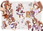 3girls absurdres animal_ears ascot bag black_gloves blue_eyes blue_jacket blue_skirt boots bow bowtie brown_footwear brown_hair buttons capelet double-breasted drinking_straw ear_bow ear_piercing enonko epaulettes frilled_skirt frills gloves hair_bow hair_flaps hand_on_hip high_ponytail highres horse_ears horse_girl horse_tail horseshoe_ornament jacket knee_boots layered_sleeves long_hair long_sleeves mayano_top_gun_(umamusume) microphone midriff miniskirt mismatched_gloves multicolored_hair multiple_girls multiple_views music navel one_eye_closed orange_eyes orange_hair outside_border piercing pink_bow pink_headwear pink_neckwear pleated_skirt puffy_short_sleeves puffy_sleeves purple_bow purple_neckwear purple_shirt red_capelet sailor_collar sailor_shirt school_bag school_uniform shirt short_over_long_sleeves short_sleeves singing single_epaulette skirt streaked_hair symboli_rudolf_(umamusume) tail thigh-highs tokai_teio_(umamusume) tracen_school_uniform track_suit two-tone_hair two-tone_jacket two-tone_skirt umamusume v violet_eyes white_footwear white_gloves white_hair white_jacket white_legwear white_skirt