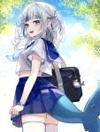 1girl :d bangs black_bag bloop_(gawr_gura) blue_hair blue_sailor_collar blue_skirt blush clouds cowboy_shot day fish_tail from_behind from_side gawr_gura grey_hair highres hololive hololive_english looking_at_viewer looking_back open_mouth outdoors sailor_collar shark_tail short_sleeves skindentation skirt smile solo standing sunmil tail thigh-highs upper_teeth virtual_youtuber