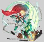 1girl afterimage amelia_(fire_emblem) arm_guards armor axe blonde_hair blue_legwear bob_cut cape chain commentary_request copyright_name crater debris elbow_gloves eyebrows_visible_through_hair fire_emblem fire_emblem:_the_sacred_stones fire_emblem_heroes gauntlets gloves glowing glowing_weapon greaves green_eyes grey_background hip_armor holding holding_axe huge_weapon jumping miniskirt official_alternate_costume official_art open_mouth pauldrons red_cape sandals short_hair shoulder_armor simple_background skirt solo taroji thigh-highs watermark weapon yellow_skirt zettai_ryouiki