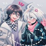 2boys :d ahoge alternate_costume anger_vein bangs black_hair black_jacket blush checkered checkered_neckwear checkered_scarf cheer_(cheerkitty14) clenched_hand dangan_ronpa_(series) dangan_ronpa_v3:_killing_harmony eye_contact gloves green_jacket grey_eyes grey_hair grey_jacket headpat highres jacket keebo looking_at_another male_focus multiple_boys notice_lines number open_clothes open_jacket open_mouth ouma_kokichi pink_scarf pointing_at_another scarf shirt smile sweatdrop two-tone_jacket upper_body upper_teeth white_shirt
