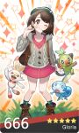 1girl :t backpack bag bangs banned_artist blush boots bright_pupils brown_bag brown_eyes brown_footwear brown_hair buttons cable_knit cardigan character_name closed_mouth collared_dress commentary dress eyelashes gen_8_pokemon gloria_(pokemon) grass green_headwear green_legwear grey_cardigan grookey hand_up hat highres hooded_cardigan kkamja looking_at_viewer number one_eye_closed pigeon-toed pink_dress plaid plaid_legwear pokemon pokemon_(creature) pokemon_(game) pokemon_swsh scorbunny short_hair smile sobble socks standing star_(symbol) starter_pokemon_trio tam_o'_shanter trainer_card white_pupils
