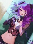 corset dated demon_horns demon_wings dutch_angle elbow_gloves gloves highres horns idolmaster idolmaster_shiny_colors midriff navel purple_hair signature spung tanaka_mamimi tongue tongue_out violet_eyes wings