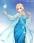 1girl aqua_dress arm_up blonde_hair blue_background blue_bow blue_dress blue_eyes blue_ribbon bow braid cape disney dress elsa_(frozen) formal frozen_(disney) gown hair_pulled_back hanbok korean_clothes lace-trimmed_sleeves lace_trim long_dress magic print_dress queen ribbon see-through_sleeves snow snowflake_ornament snowflake_print snowflakes snowing solo tassel traditional_clothes traditional_dress woohnayoung