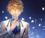 1boy arthur_pendragon_(fate) blonde_hair closed_eyes fate/prototype fate_(series) flower highres male_focus necktie petals rose sagta_panggang shirt solo striped striped_shirt tuxedo upper_body white_flower white_rose