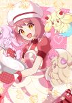 1girl :d alcremie alcremie_(strawberry_sweet) alternate_hair_color apron bangs blush buttons commentary_request cosplay dawn_(pokemon) dawn_(pokemon)_(cosplay) dress eyelashes gen_8_pokemon gloria_(pokemon) hanezu_haru hat highres holding mittens mixing_bowl open_mouth oven_mitts pokemon pokemon_(creature) pokemon_(game) pokemon_masters_ex purple_hair red_dress red_mittens short_sleeves smile tongue white_headwear yellow_eyes