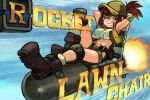1girl abs alex_ahad arms_behind_head baseball_cap beach_chair belt boots brown_eyes brown_hair crossed_legs eyebrows_visible_through_hair fio_germi glasses hat highres knee_pads looking_at_viewer lying metal_slug open_clothes open_vest ponytail rocket shorts smile text_focus vest