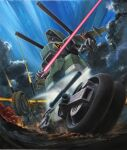 clouds dolla_(kikou_senki_dragonar) energy_sword ganzer ground_vehicle highres holding holding_sword holding_weapon kikou_senki_dragonar mecha motor_vehicle motorcycle official_art open_hand ryukow_masseau science_fiction shoulder_cannon sky solo sword weapon