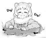 1girl animal_ears black-tailed_prairie_dog_(kemono_friends) blush bow bowtie closed_eyes commentary_request dirty dirty_clothes dirty_face eyebrows_visible_through_hair fur_collar greyscale kemono_friends long_sleeves monochrome open_mouth prairie_dog_ears short_hair smile solo sweatdrop sweater yokuko_zaza
