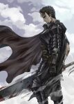 1boy armor bandages berserk black_hair blood bloody_weapon cape commentary_request from_side guts_(berserk) highres holding holding_sword holding_weapon jun_(rellik_&_redrum) long_sword looking_afar male_focus multicolored_hair solo standing streaked_hair sword weapon