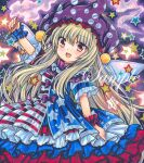 1girl american_flag_dress arm_up bangs blonde_hair blue_background blue_dress blue_sleeves blush bow clownpiece dress dress_bow eyebrows_visible_through_hair fairy_wings fire hair_between_eyes hand_up hat jester_cap long_hair looking_at_viewer marker_(medium) multicolored multicolored_clothes multicolored_dress multicolored_eyes open_mouth purple_bow purple_headwear red_dress red_eyes red_sleeves rui_(sugar3) short_sleeves smile solo star_(symbol) star_print starry_background striped striped_dress torch touhou traditional_media white_dress white_sleeves wings wrist_cuffs yellow_eyes