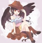 1girl bare_shoulders biyon black_hair blue_shirt boots brown_footwear brown_headwear commentary_request crossed_legs feathered_wings full_body hand_on_headwear hand_up hoof_shoes kurokoma_saki long_hair looking_at_viewer neckerchief off-shoulder_shirt off_shoulder open_mouth orange_skirt pink_shirt pleated_skirt red_eyes shirt skirt smile solo touhou twitter_username wings wolf_spirit_(touhou)