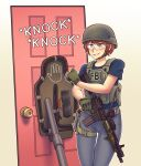 1girl absurdres assault_rifle blue_eyes blue_pants blue_shirt brown_hair door explosive fbi full_body glasses grin gun helmet highres holding holding_gun holding_weapon knocking looking_at_viewer m4_carbine original pants rifle shirt short_hair smile solo tactical_clothes vest weapon willy_pete