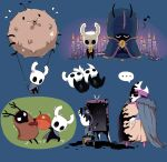 ... arizuka_(catacombe) berry blue_background candle chair character_request cloak fire flame helm helmet highres holding hollow_knight horns knight_(hollow_knight) musical_note no_cloak painting pulling sitting spoken_ellipsis standing trembling