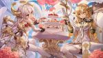 2girls alchemy_stars balloon bangs bare_shoulders bird blonde_hair cup doughnut fire flower food food_in_mouth fork fruit gloves hair_between_eyes halo highres irridon_(alchemy_stars) long_hair lujang_(fudge) multiple_girls official_art open_mouth pastry pinky_out red_eyes sitting sky staff strawberry table teacup thigh-highs uriel_(alchemy_stars) vambraces white_gloves white_hair white_legwear yellow_eyes