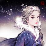 1girl 2020 alternate_costume blue_dress blue_eyes bow braid bug butterfly crystal crystal_dress disney dress elsa_(frozen) frozen_(disney) fur-trimmed_dress fur_collar fur_trim hanbok insect korean_clothes korean_text night night_sky olaf's_frozen_adventure photoshop_(medium) red_eyes signature sky snowflake_ornament snowflakes snowing solo traditional_clothes white_hair woohnayoung