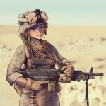 1girl absurdres bandolier blue_eyes brown_gloves brown_hair camouflage camouflage_jacket camouflage_pants closed_mouth desert desert_camouflage gloves gun hat helmet highres holding holding_gun holding_weapon jacket light_machine_gun m249 machine_gun military military_hat military_uniform original pants ponytail sleeves_rolled_up smoke smoking solo uniform v-shaped_eyebrows vest weapon willy_pete